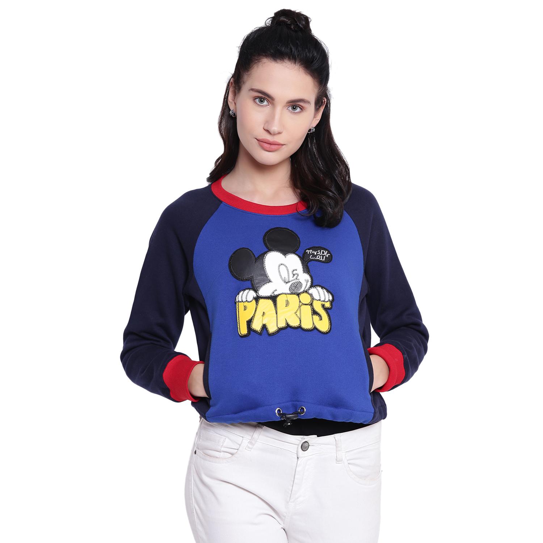 Texco Woman Mickey Mouse Printed Blue Sweatshirt
