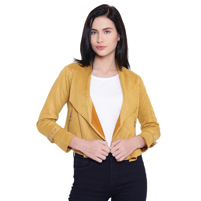 Texco Woman Mustard Waterfall Suede Jacket
