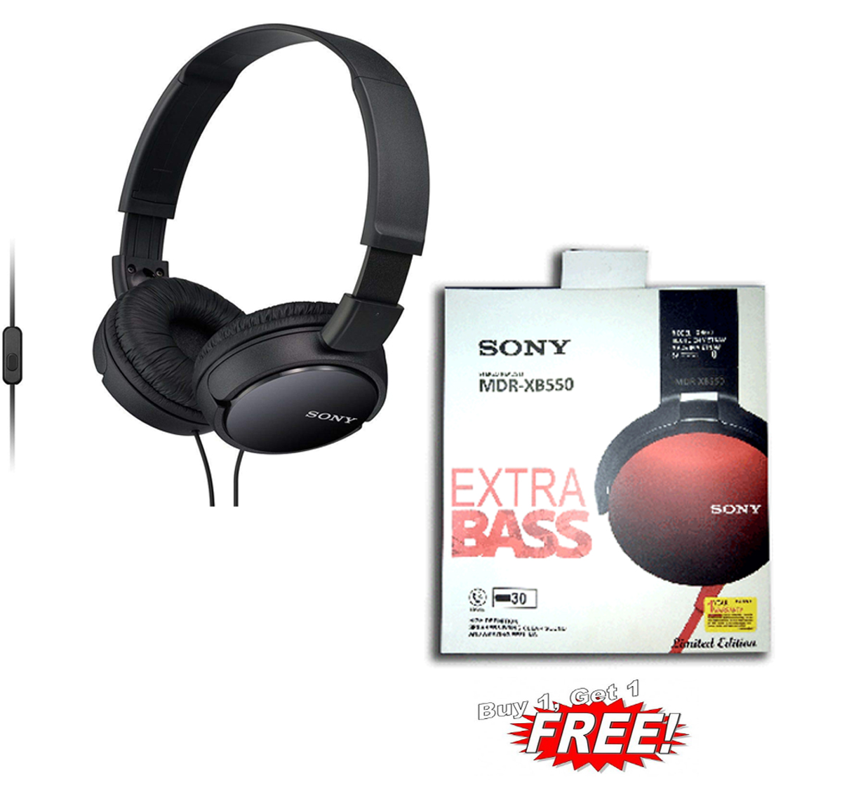 SONY MDR ZX 110AP COMBO WITH SONY MDR XB550