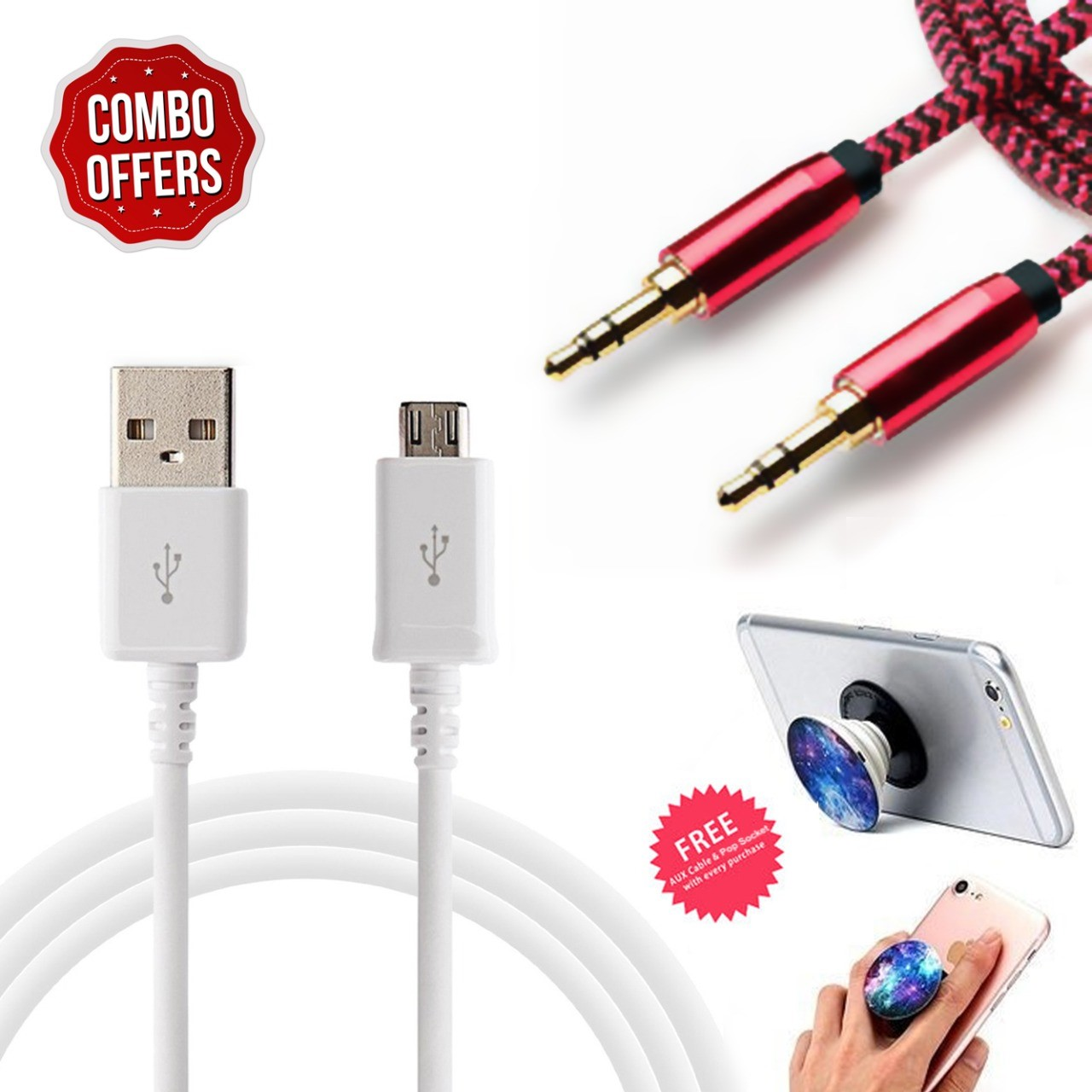 Fast Charging USB Cable  1.5 Meter  With AUX Cable And Pop Socket by Wake Wood