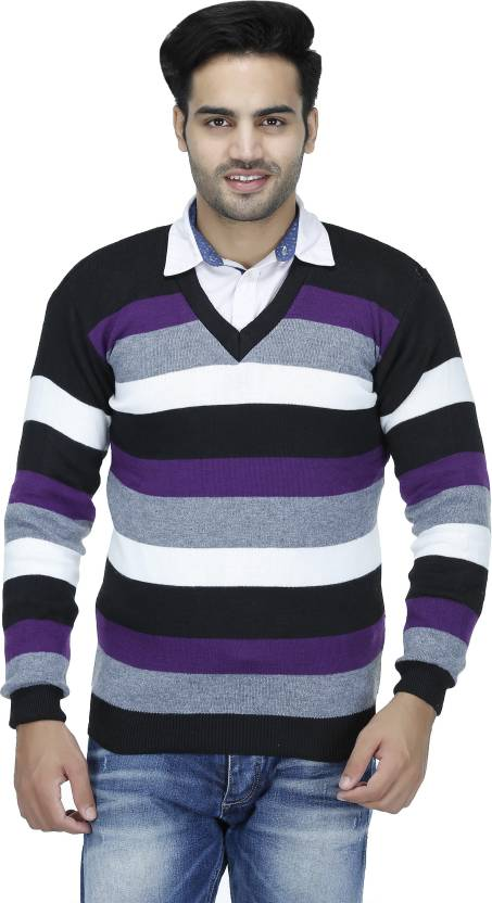 Christy's Collection Striped V Neck Casual Purple Men's Sweater