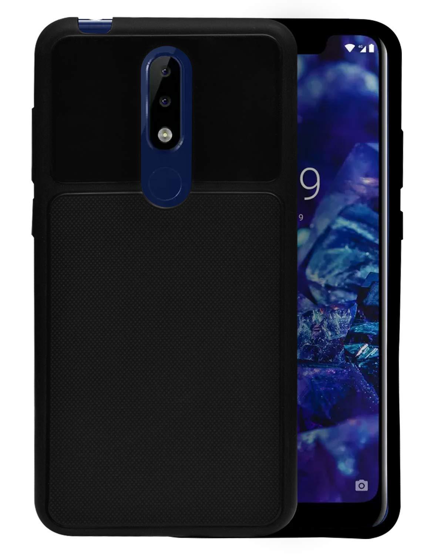 ECellStreet Nokia 5.1 Plus Back Case Cover Flexible Shockproof TPU Texture Case   Black
