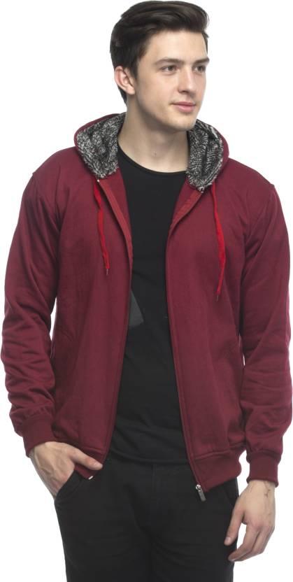 Lambency Maroon Plain Long Sleeve Hooded Casual Sweatshirts For Men
