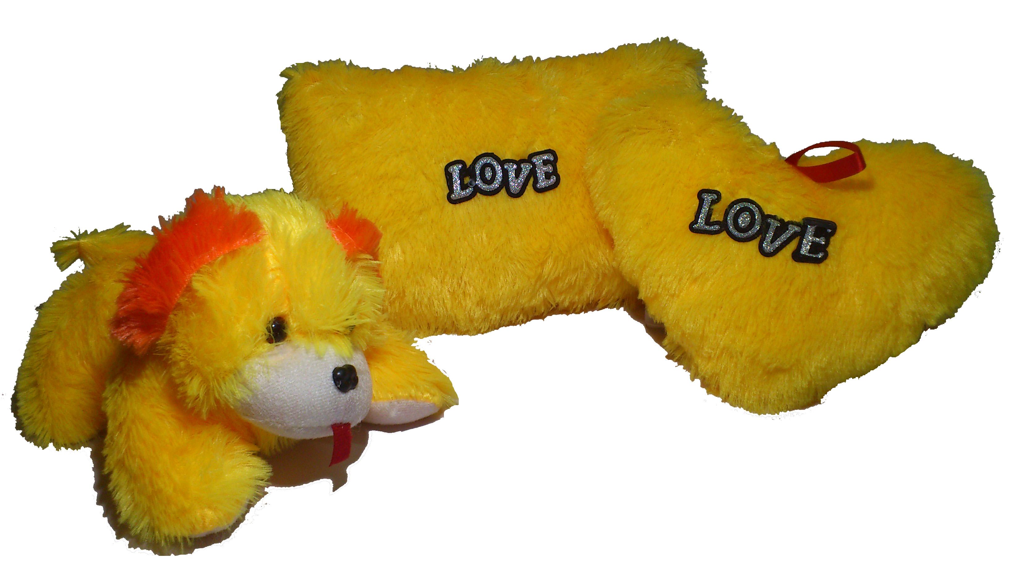 Utkarsh Set of 3 Heart Shape Love Soft Tickle Cushion Pillow Dog Teddy Bear Valentine Love Gift   35 cm