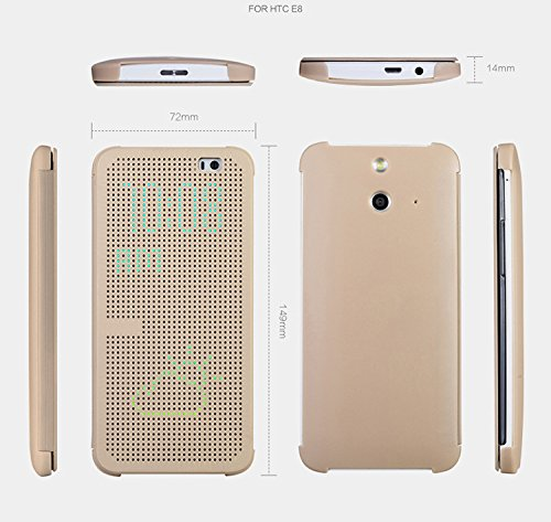 Dot View Touch sense Flip Back Case Cover For HTC Desire E8  Gold