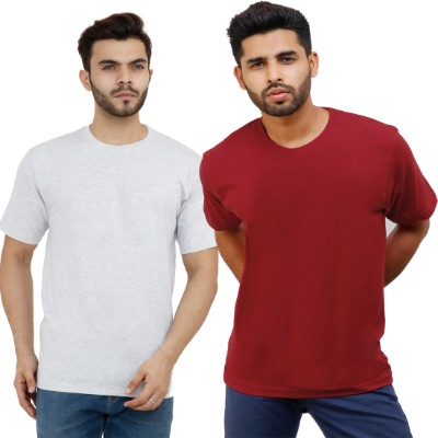 ADIMA Solid Men's Round Neck Melange White Maroon T Shirt  Pack of 2