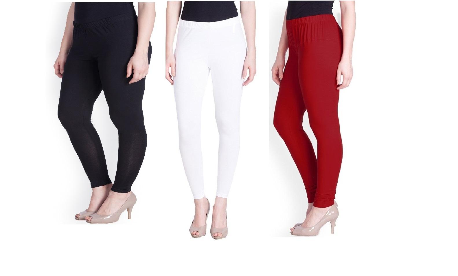 Kaym Multicolor   White,Red,Black  Cotton Leggings for Women Combo Pack of 3