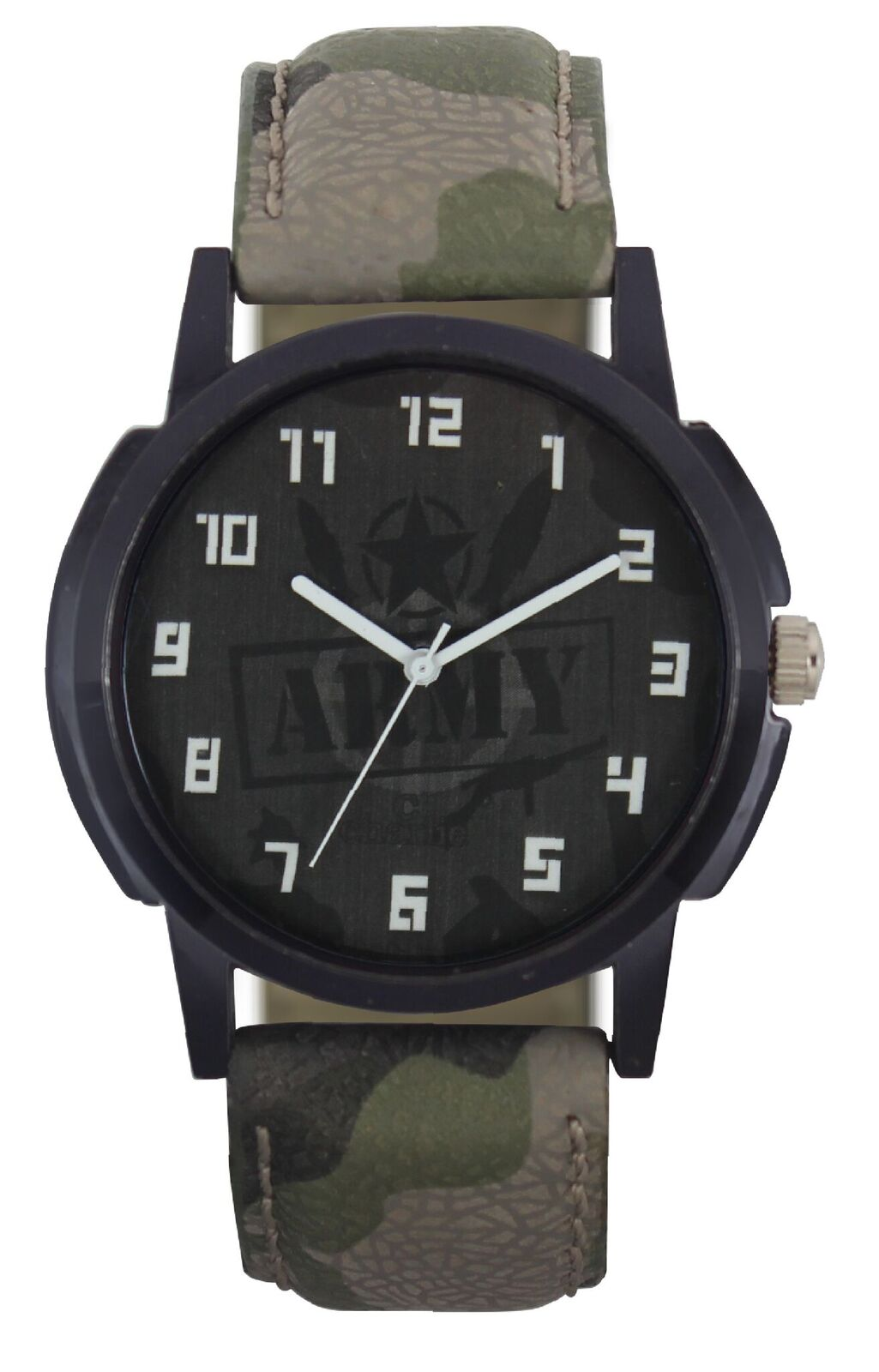 KDS Army Dial Leather Strap Stylish Analog Watch   For Men