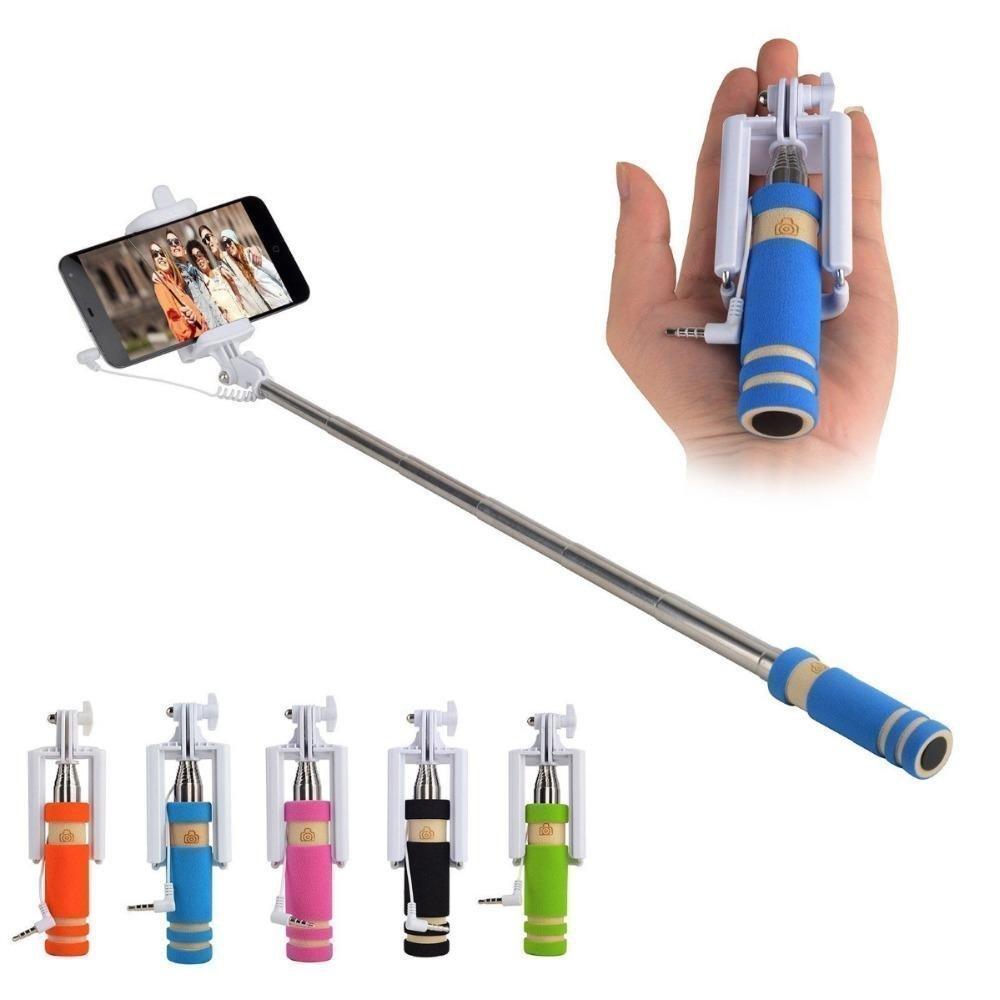 Mini Selfie Stick With AUX Cable   Multi Color