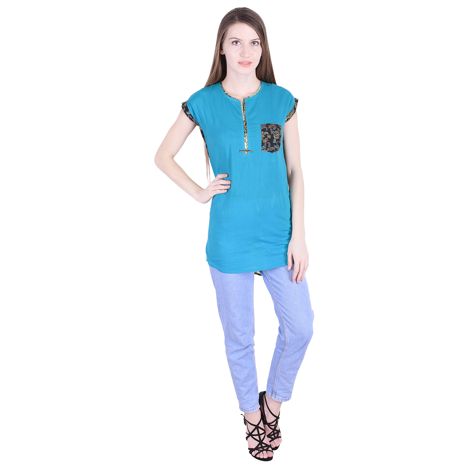 Nascency Cotton Solid Round Neck Short Sleeves Regular Turquoise Casual and Party Wear Women Top