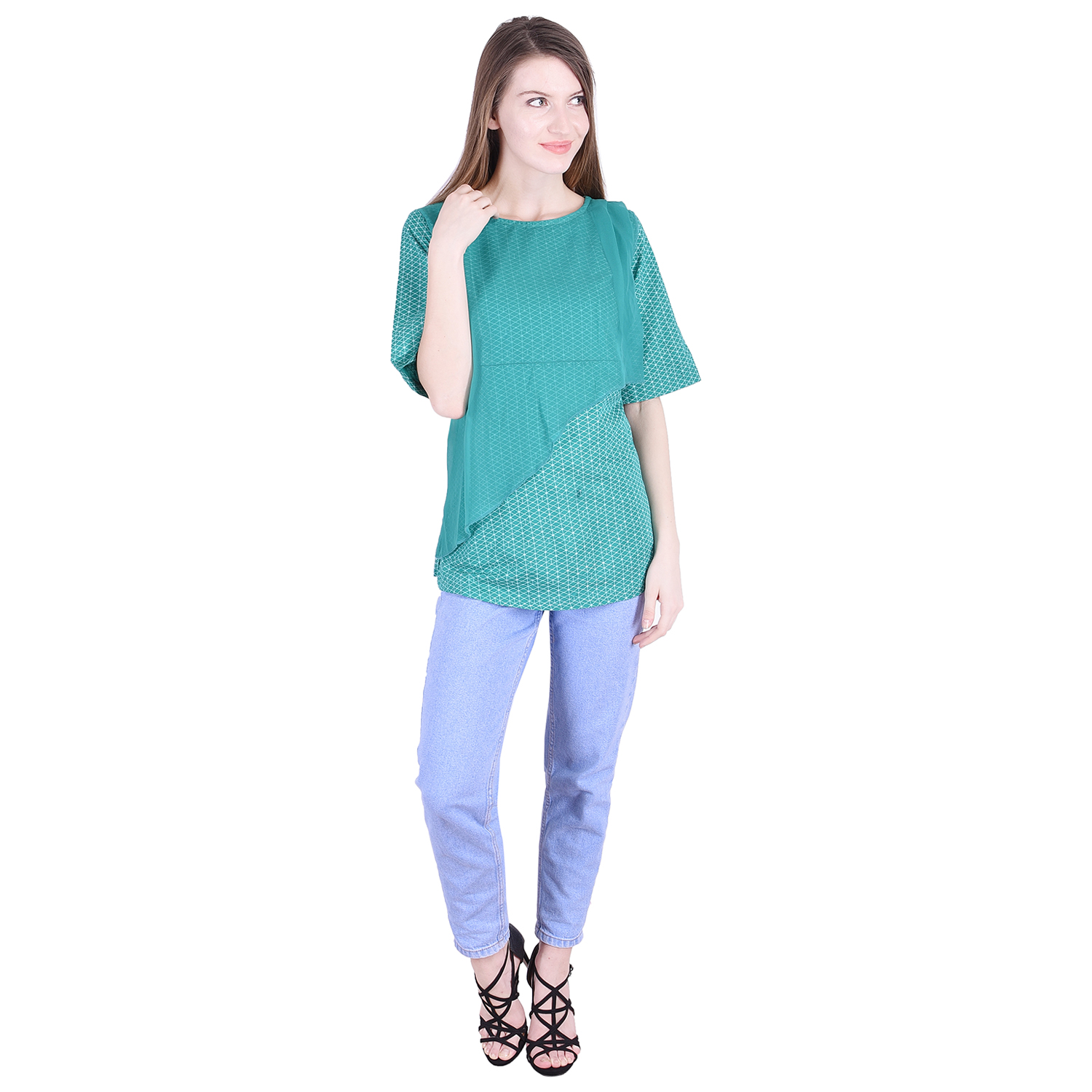 Nascency Cotton Printed Round Neck Half Sleeves Regular Turquoise Casual and Party Wear Women Top
