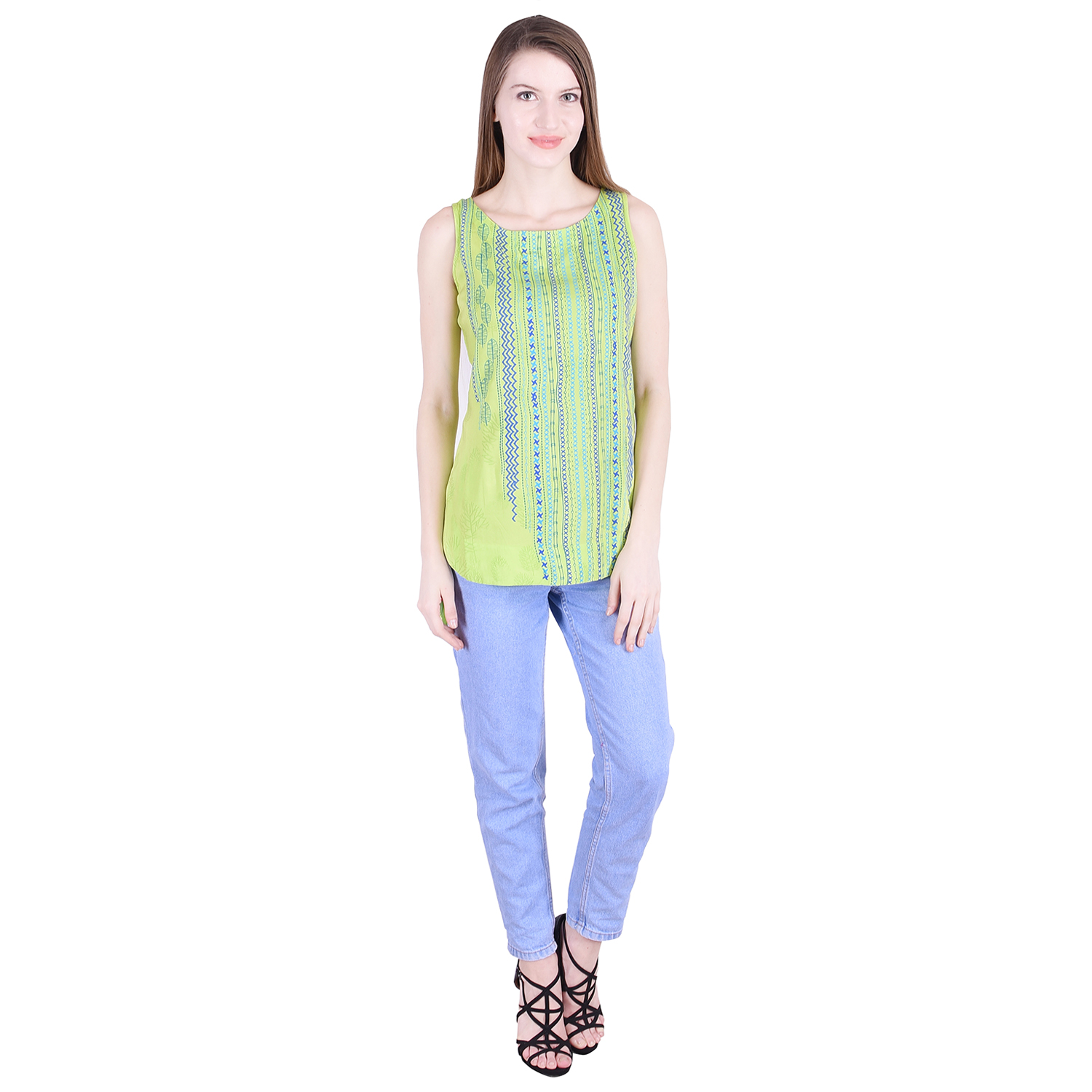 Nascency Rayon Printed Round Neck Sleeveless Straight Light Green Casual and Party Wear Women Top