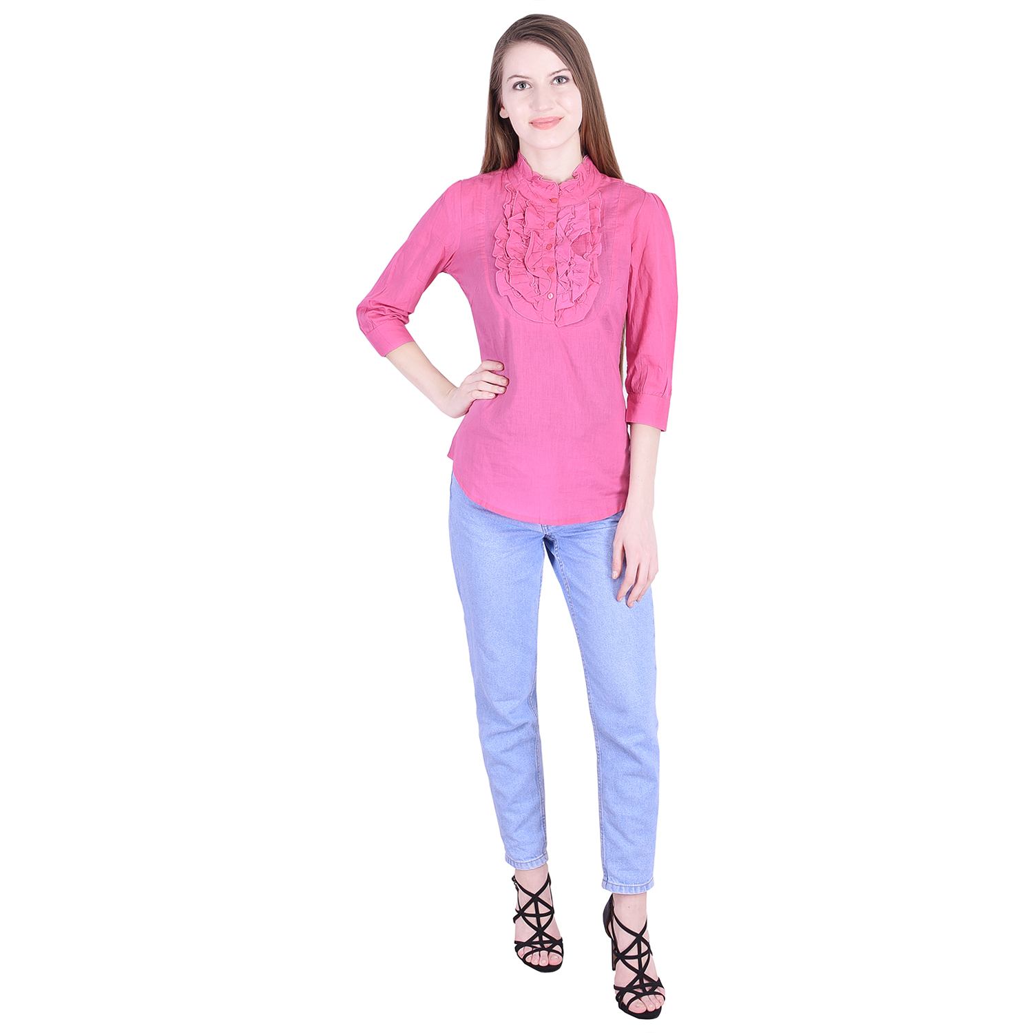 Nascency Cotton Solid Round Neck 3/4 Sleeves Regular Pink Casual and Party Wear Women Top