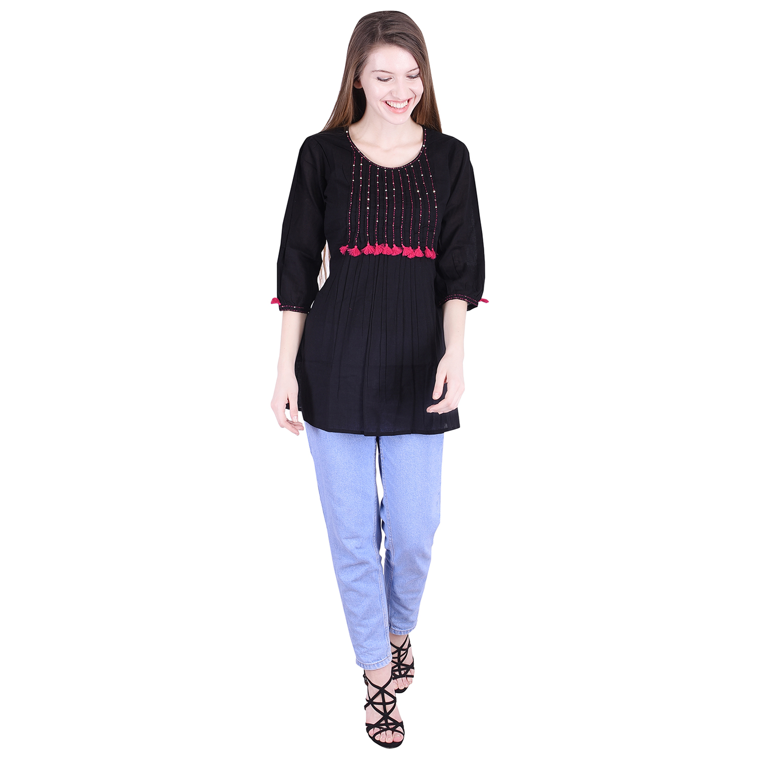 Nascency Cotton Solid Round Neck 3/4 Sleeves Regular Black Casual and Party Wear Women Top