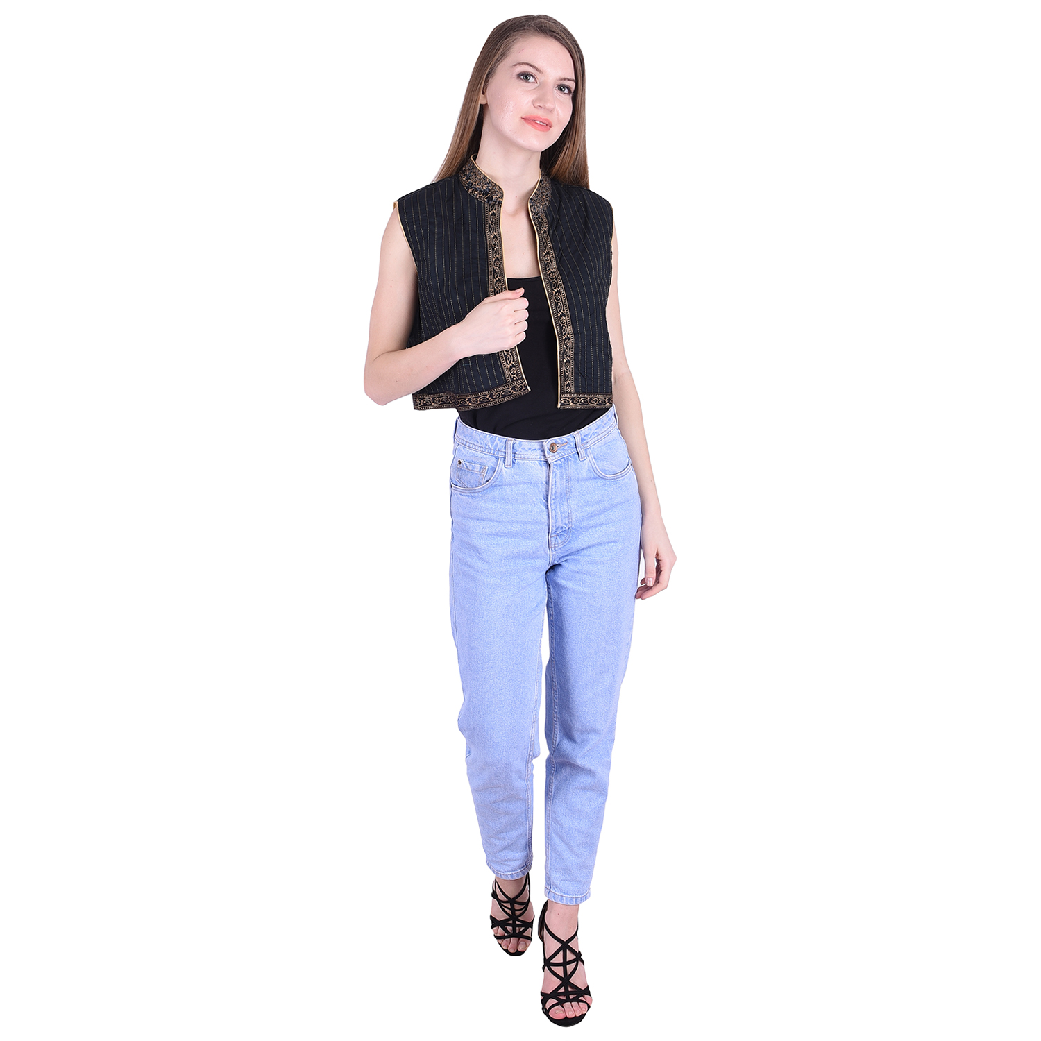 Nascency Cotton Solid Round Neck Sleeveless Regular Black Casual and Party Wear Women Jacket