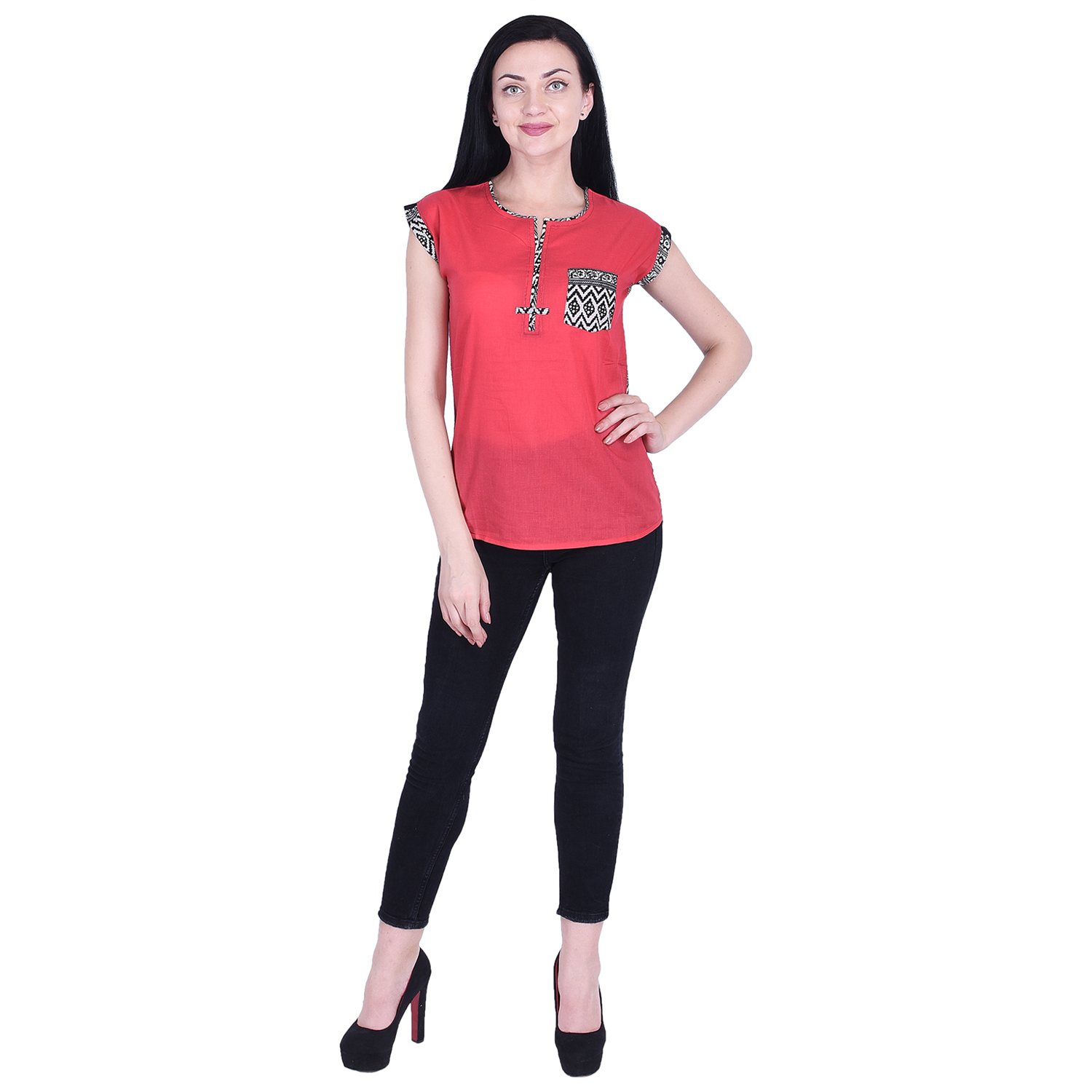 Nascency Cotton Solid Round Neck Short Sleeves Top Pink Casual and Party Wear Women Top