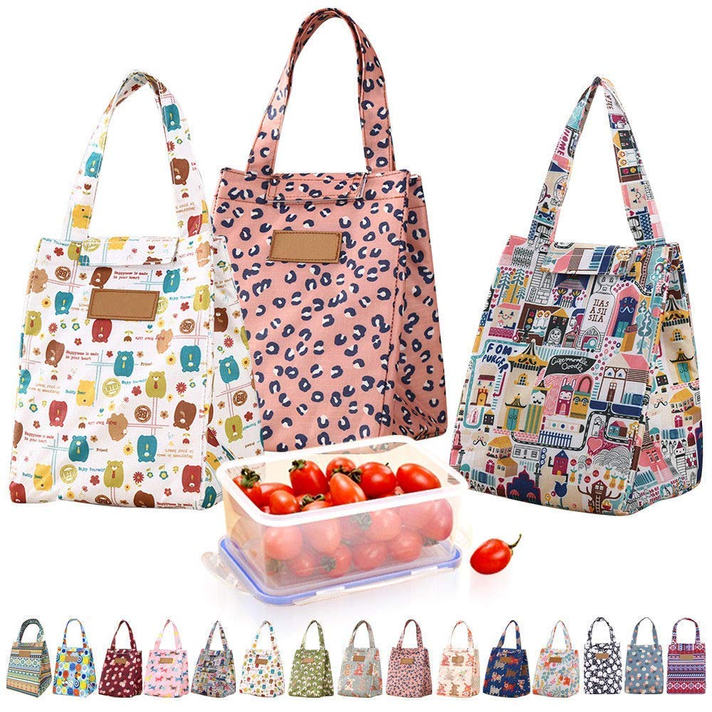 Shopper52 Portable Cooler Bag FOLD Over Insulated Lunch Bag with Handle Reusable School Lunch Box Travel Tote Bag Office