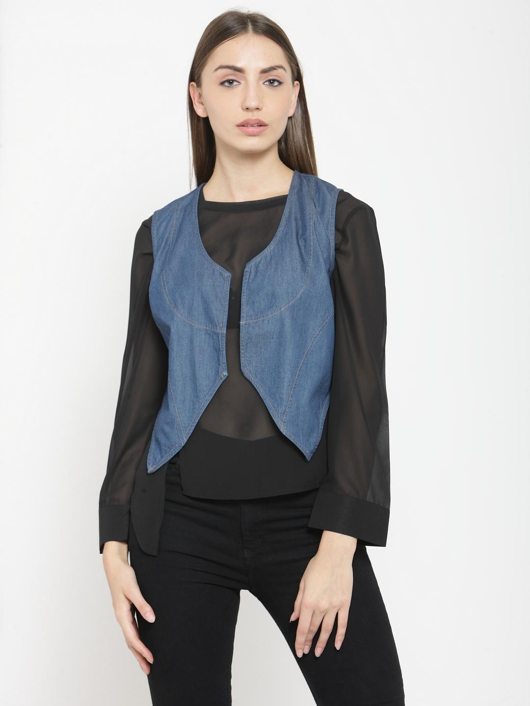 Tunic nation Solid Cotton Sleeveless Blue Jacket