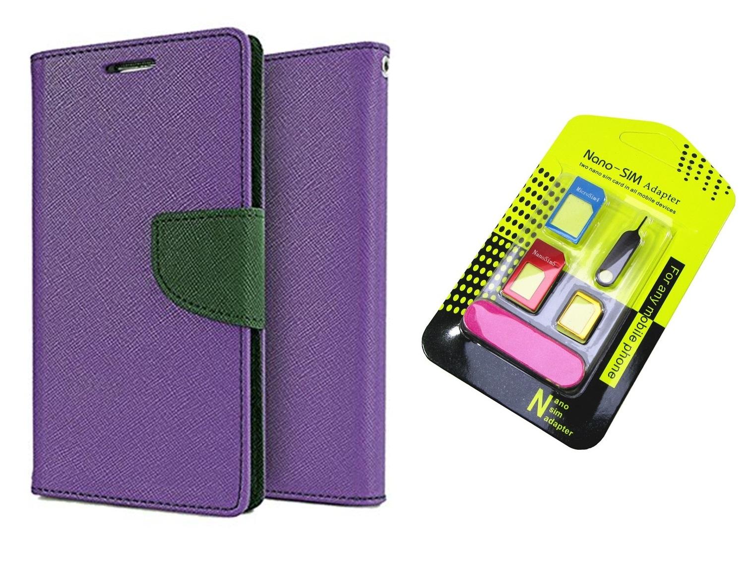 Wallet Flip Cover For Motorola Moto G  2nd Gen  / Moto G2   PURPLE With Nano Sim Adapter