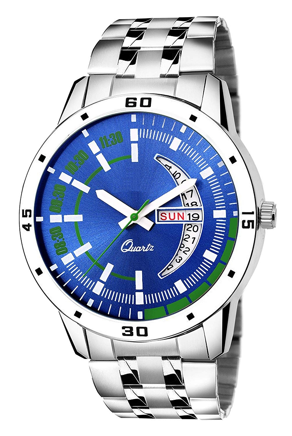 TRUE COLORS Day Date Functioning Blue Dial Metal Silver Chain Watch for Boys and Men
