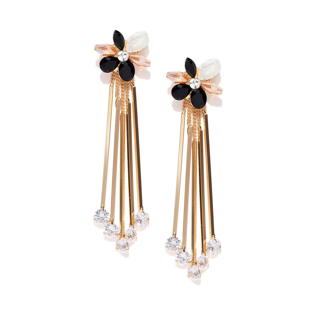 Jewels Galaxy Luxuria Elegant Cubic Zirconia 18K Rose Gold Plated Attractive Drop Stick Earrings For Women/Girls