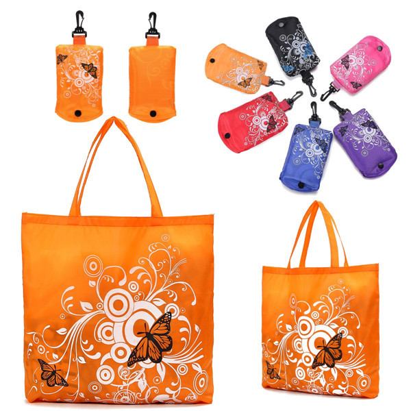 DY Foldable Compact Cute Eco Storage Flower Butterfly Tote Grocery Hand Bag  Assorted Colour
