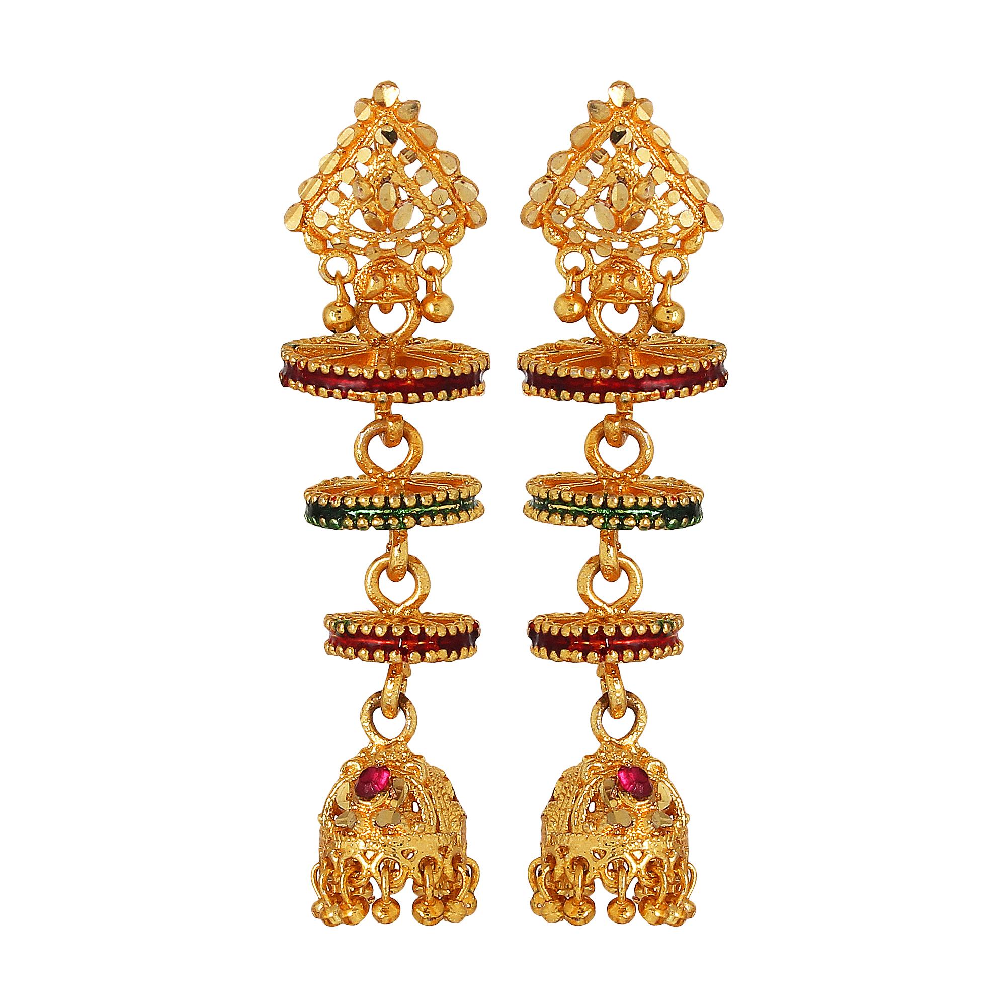 GoldNera Chakra Design Alloy Jhumki Earring
