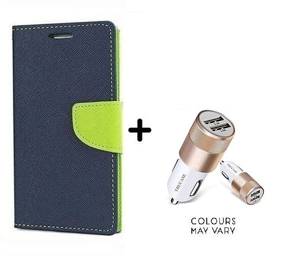 Wallet Flip Cover For Sony Xperia C5 / Xperia C5   BLUE With Dual USB car Charger  CR750ADP