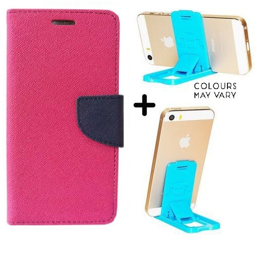 Flip Back Cover For Sony Xperia C3 / Xperia C3   PINK   With Mobile Stand