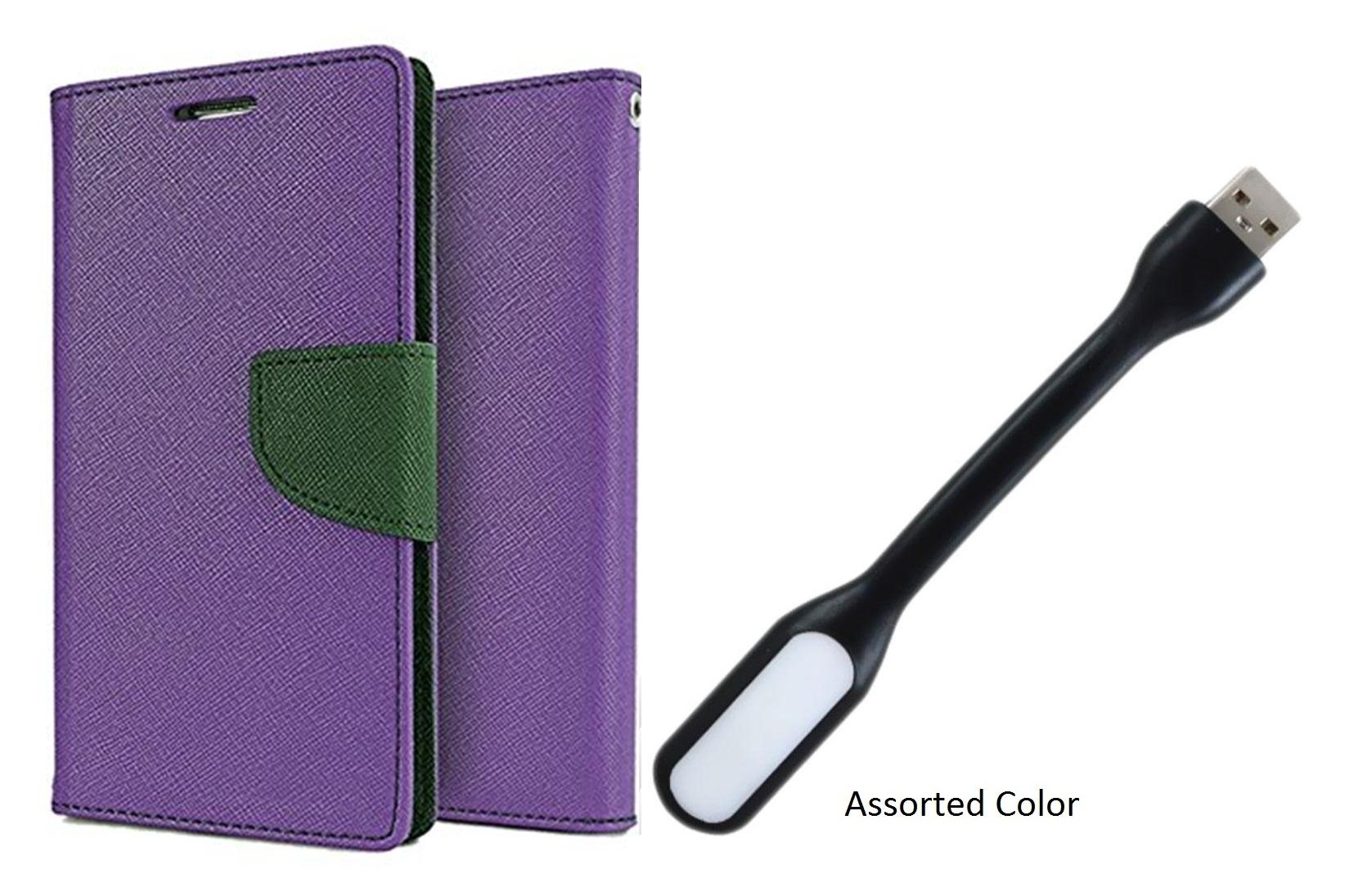 Flip Back Cover For Motorola Moto E3 Power / Moto E3 Power   PURPLE   With Usb Light