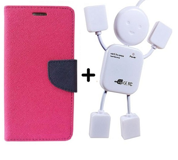 Flip Back Cover For Samsung Galaxy S7 / Samsung S7   PINK   With Usb Hub
