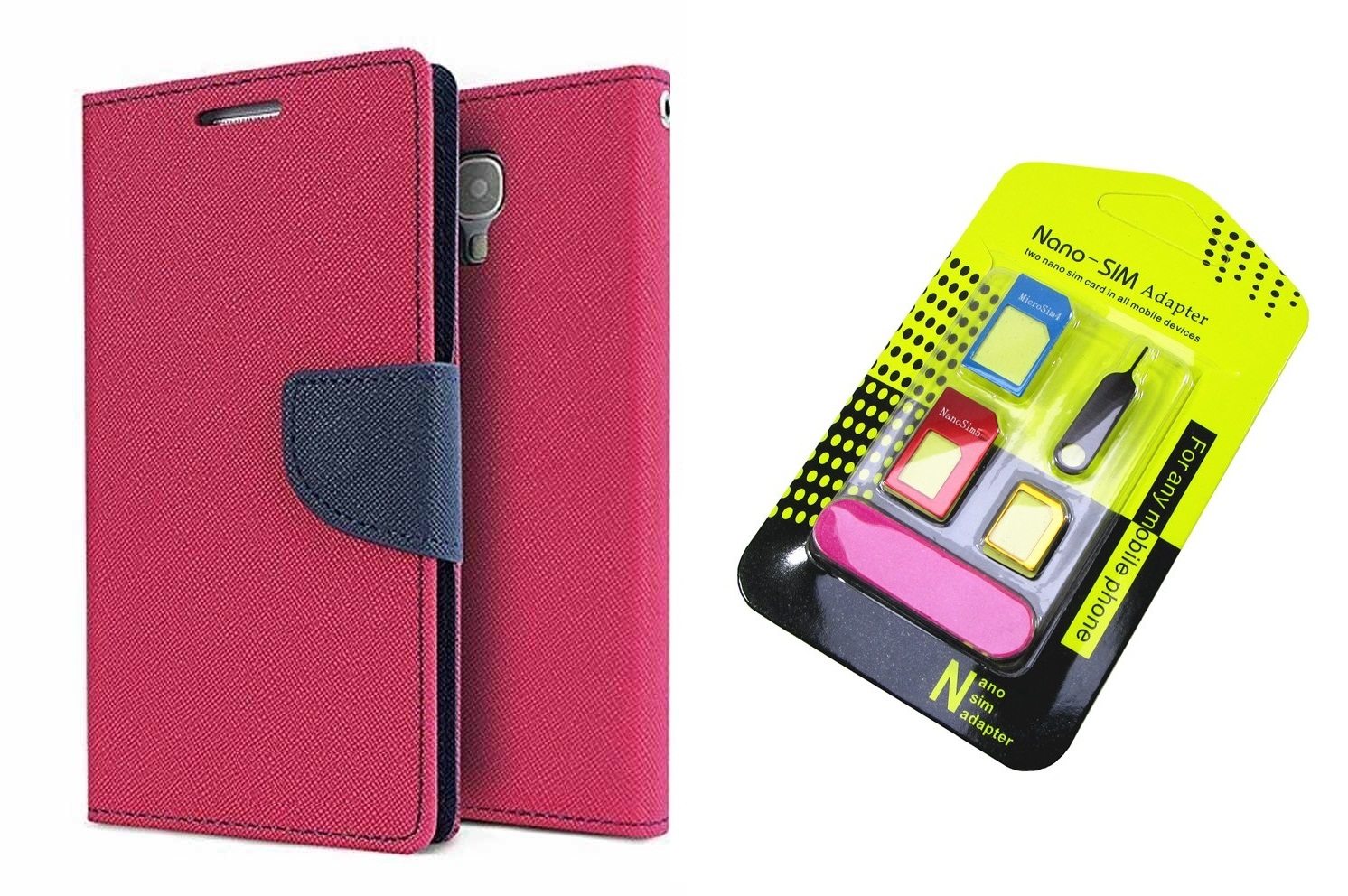 Flip Back Cover For Sony Xperia M2 Dual / Xperia M2 Dual   PINK   With Nano Sim Adapter