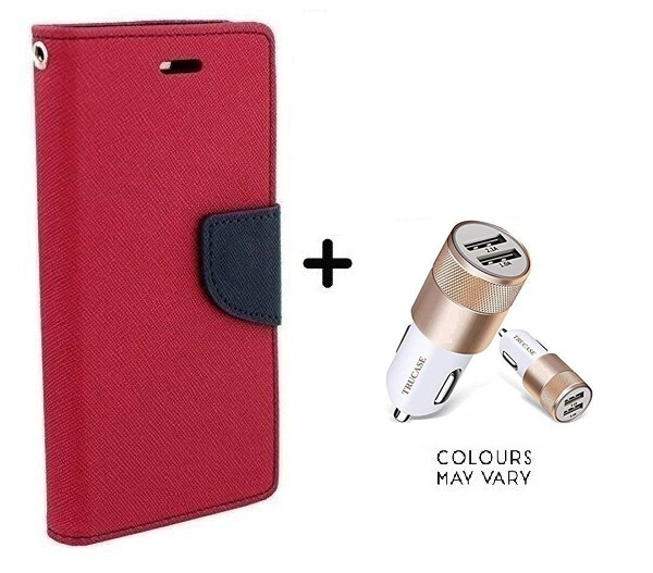 Flip Back Cover For Sony Xperia C3 / Xperia C3   PINK   With Dual USB car Charger  CR750ADP