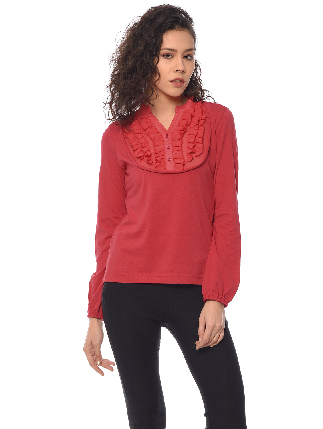Purys Casual Full Sleeve Solid Women's Red Top