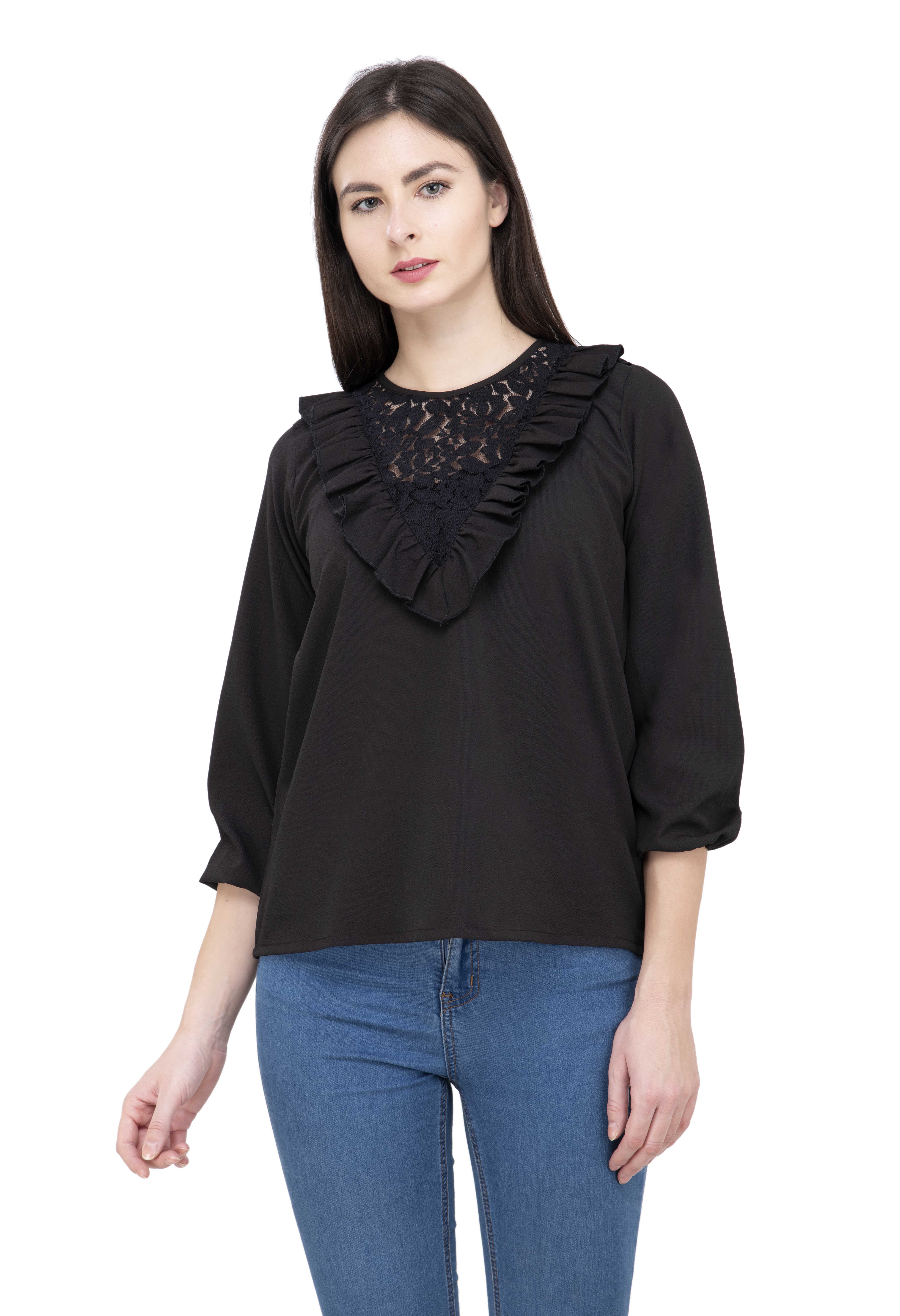 POPWINGS Casual full Sleeves round neck self design crepe solid black women top