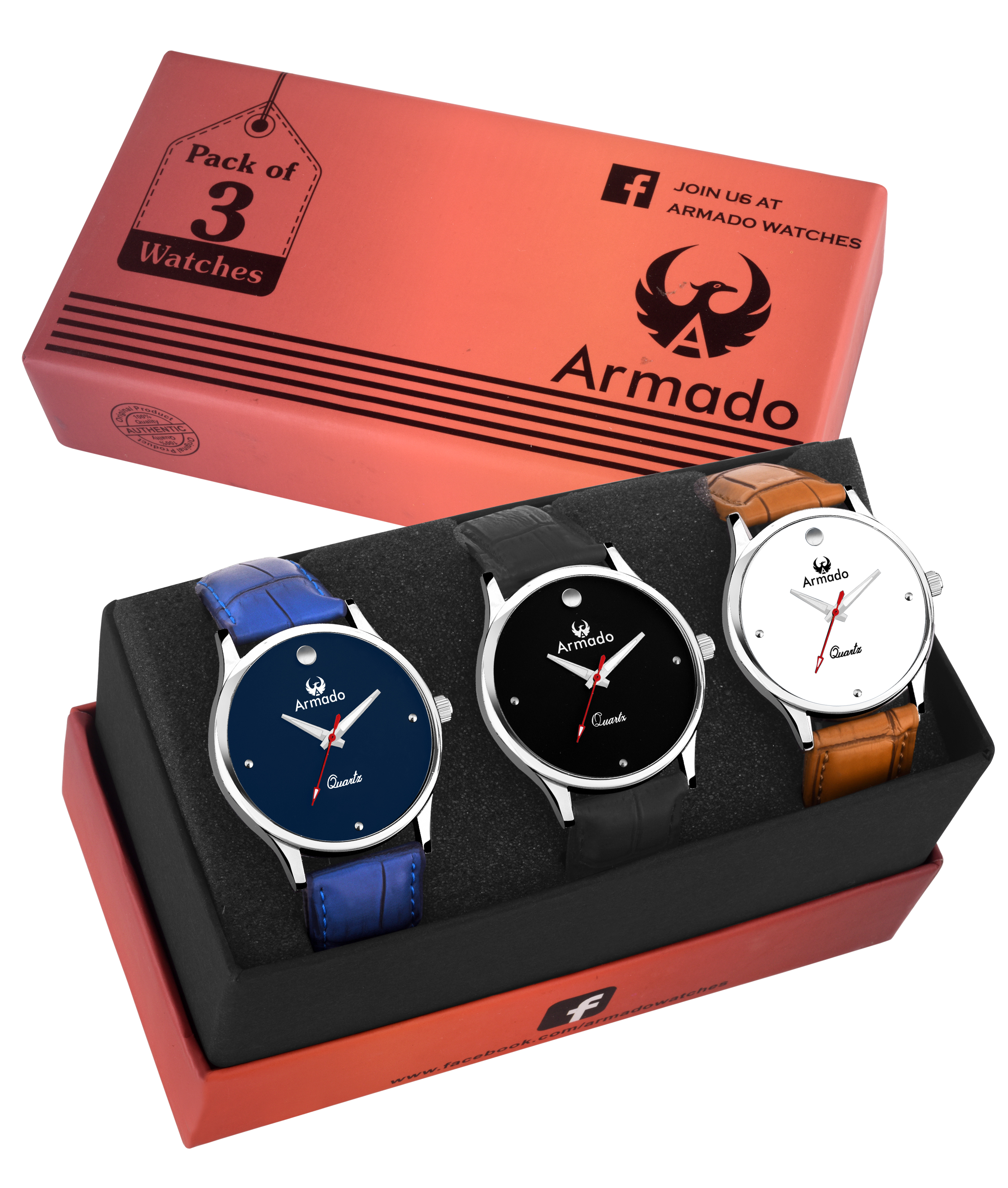 ARMADO AR A1A2A3 COMBO OF 3 STYLISH WATCHES  FOR MEN