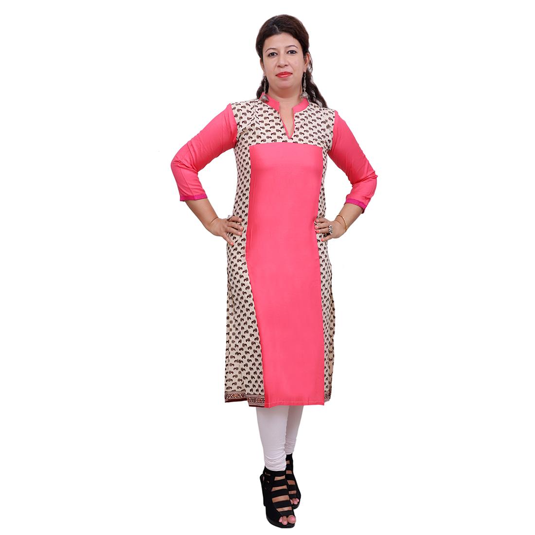 Pankhudi Cotton Printed Pink Casual Kurti for Women