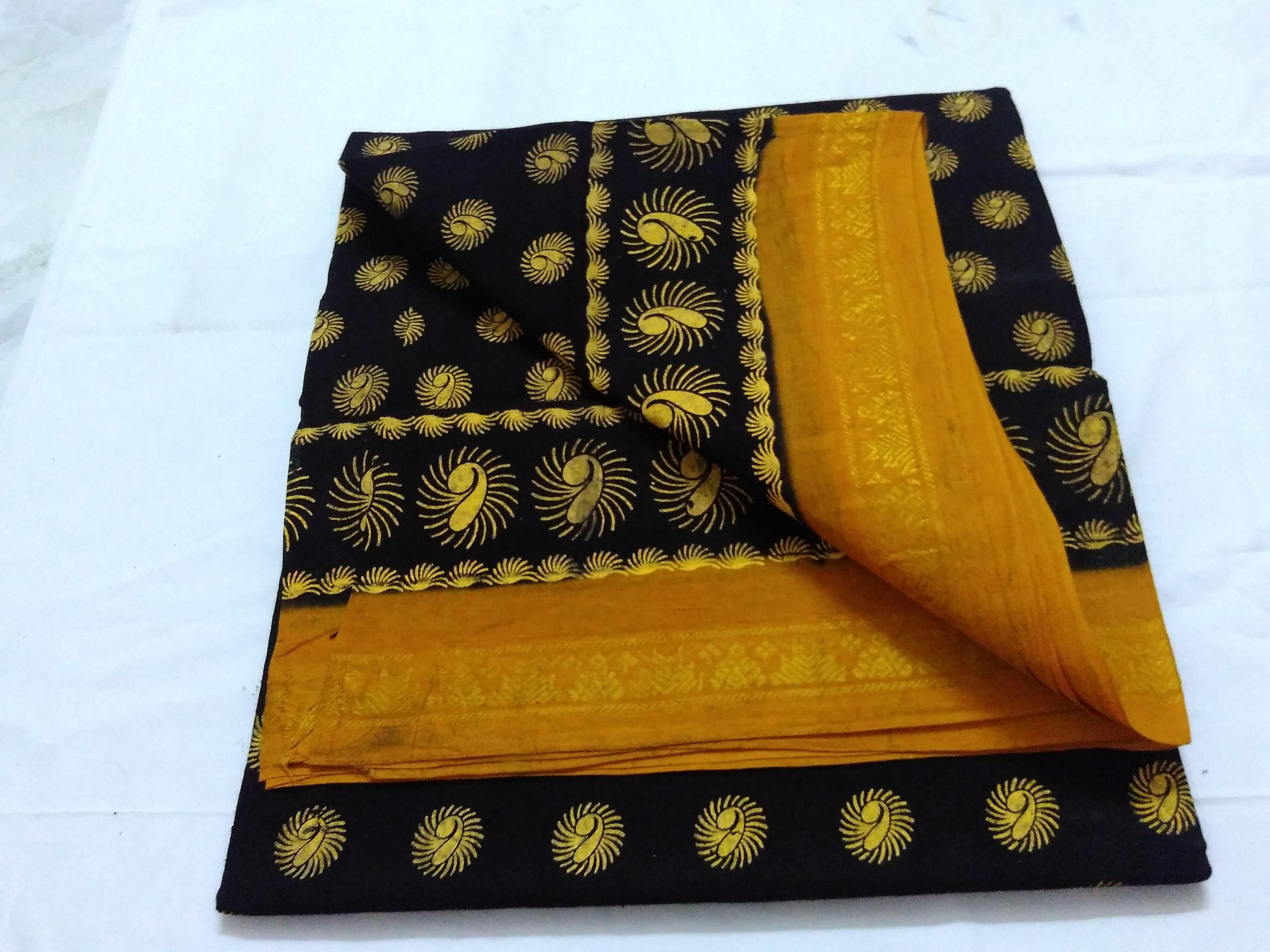 Black Cotton Saree with Floral Design Block Print Bengal Cotton Saree
