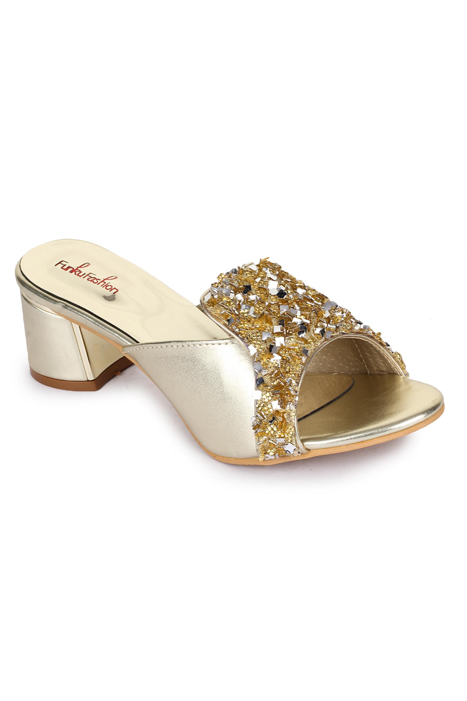 Funku Fashion Women Golden Block Heels