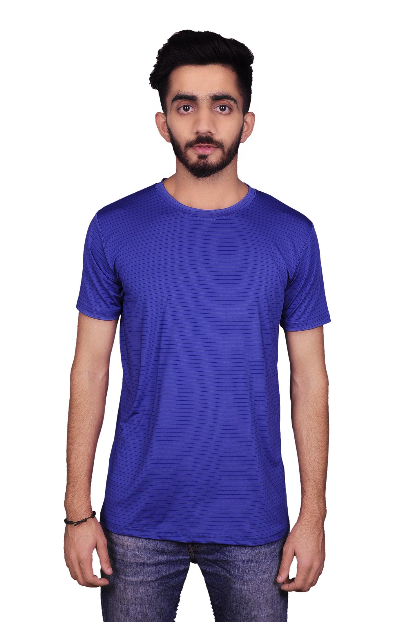 Antares Striped Men's Round Neck Dark Blue T Shirt