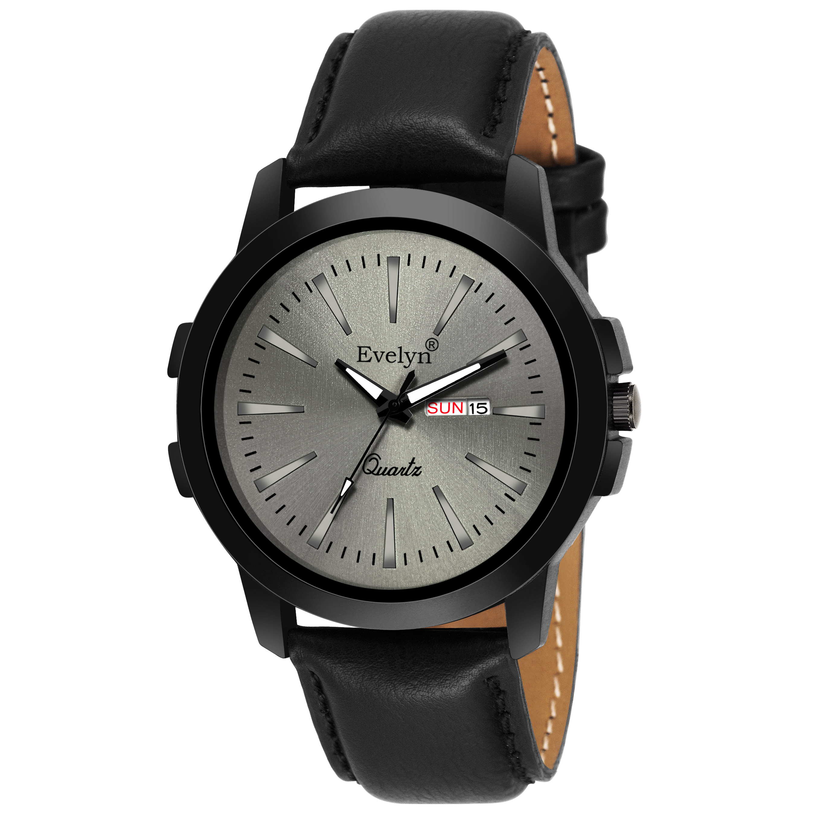 Evelyn Men Grey Dial Black Leather Strap Analog Watch Eve 762