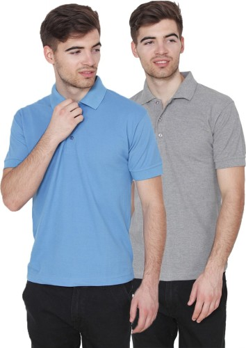 Xee Solid Men Polo Neck Light Blue, Grey T Shirt