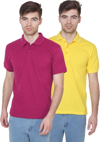 Xee Solid Men Polo Neck Purple, Yellow T Shirt