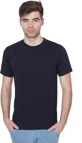 Xee Solid Men's Round Neck Dark Blue T Shirt