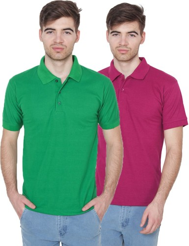 Xee Solid Men's Polo Neck Green T Shirt