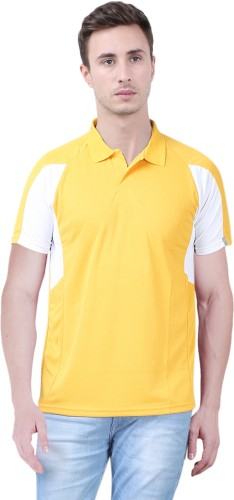 Xee' Solid Men's Polo Neck Yellow T Shirt