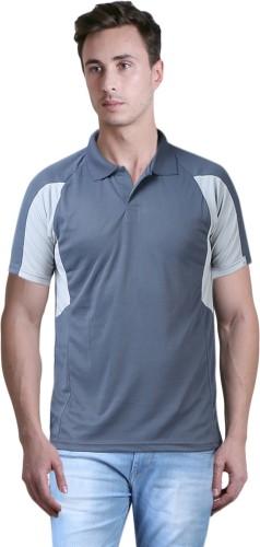 Xee' Solid Men's Polo Neck Grey T Shirt