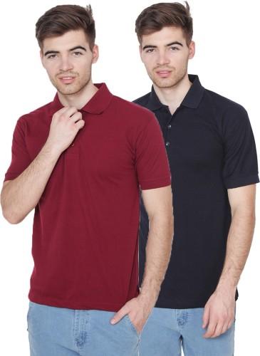 Xee Solid Men's Polo Neck Maroon, Dark Blue T Shirt