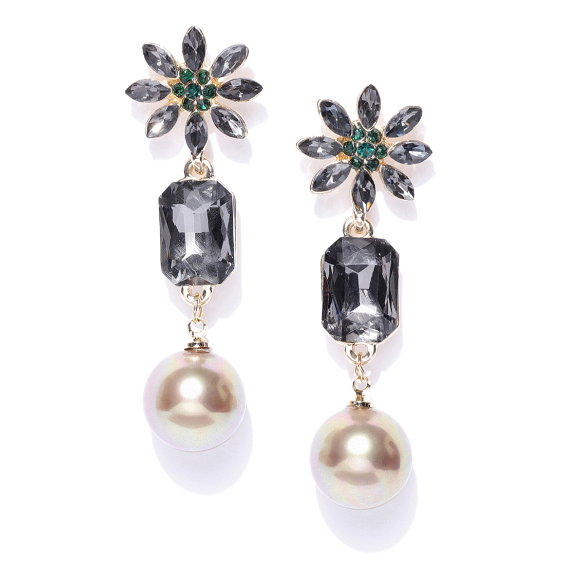 Jewels Galaxy Luxuria Floral Design Crystal Pearl Gold Plated Wonderful Drop Earrings For Women/Girls