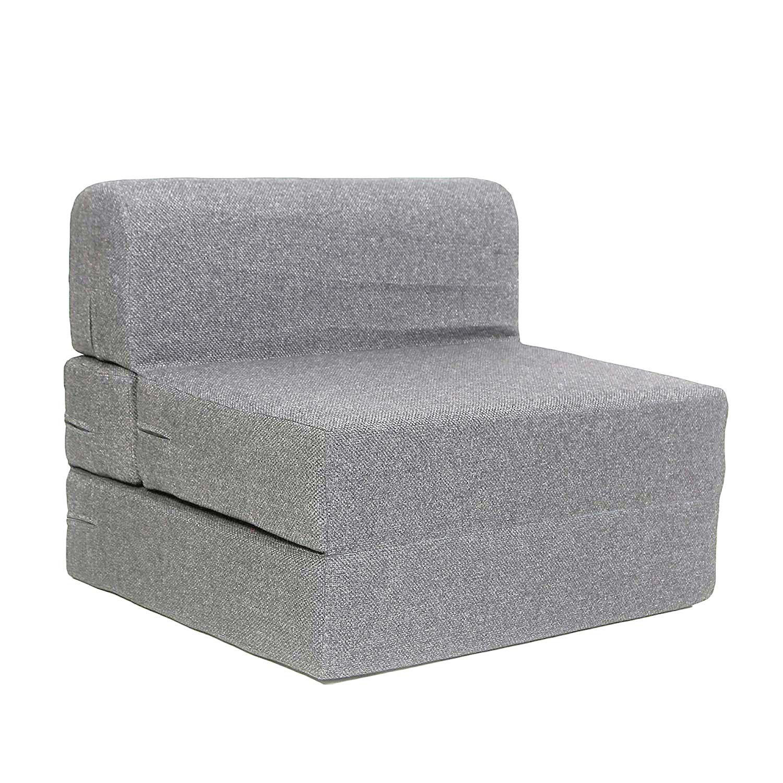 Style Homez Foldable Sofa Cum Bed, 3' x 6' Feet Premium Jute Fabric with Premium Foam Fillers,Grey Color